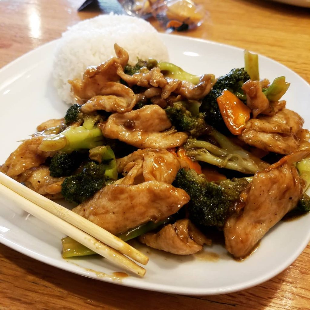 Gluten free chicken broccoli mix with white rice
